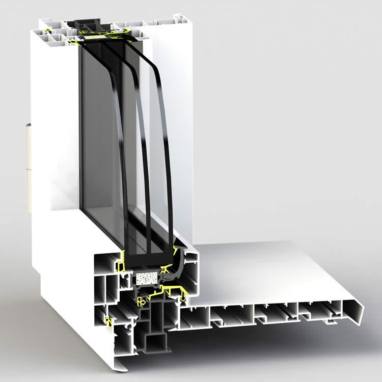 Dormant de fenêtre WERNER AT80F pour pose en applique intérieur