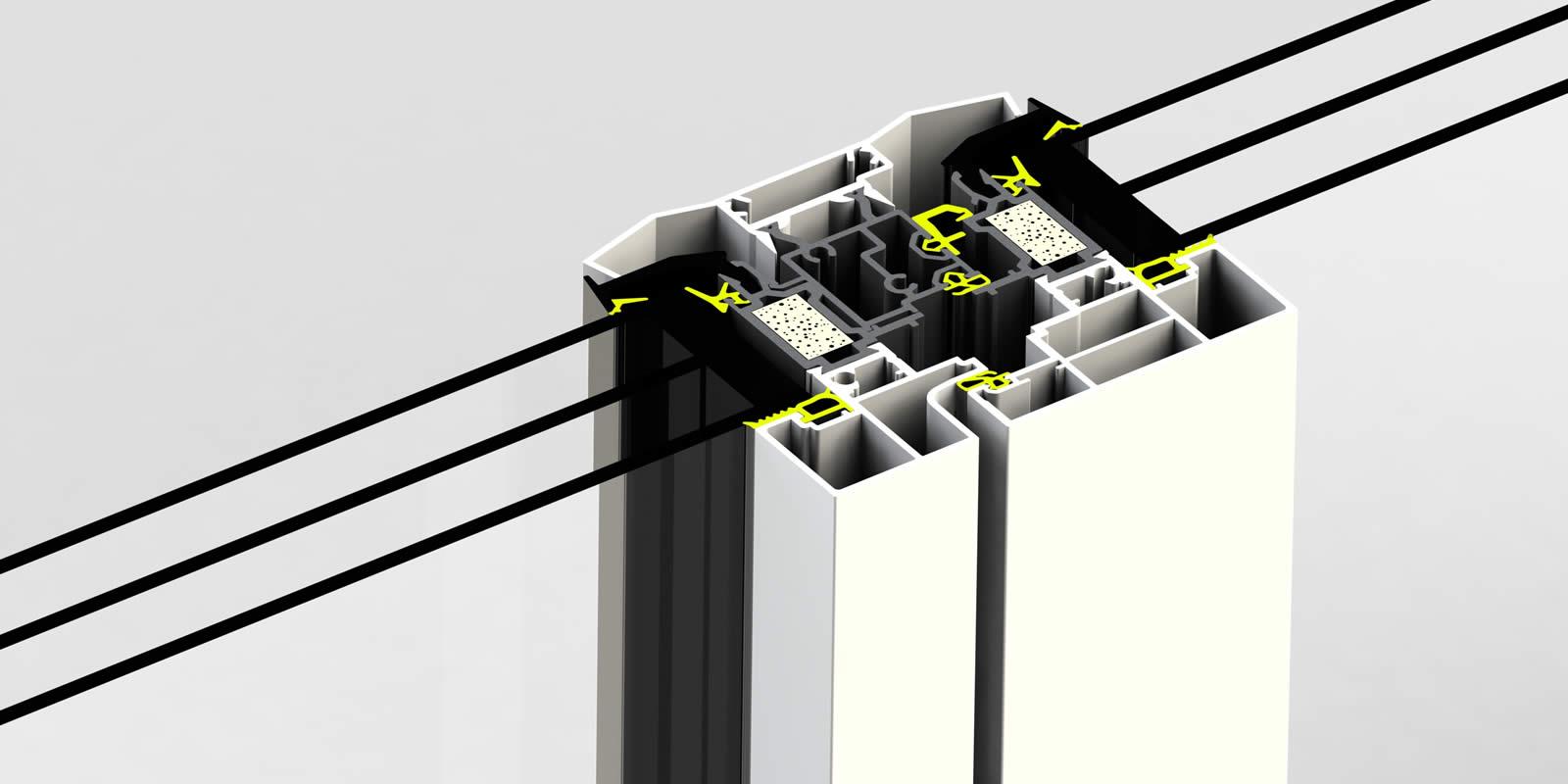 Montant central de la gamme EPMi Menuiseries AT80F